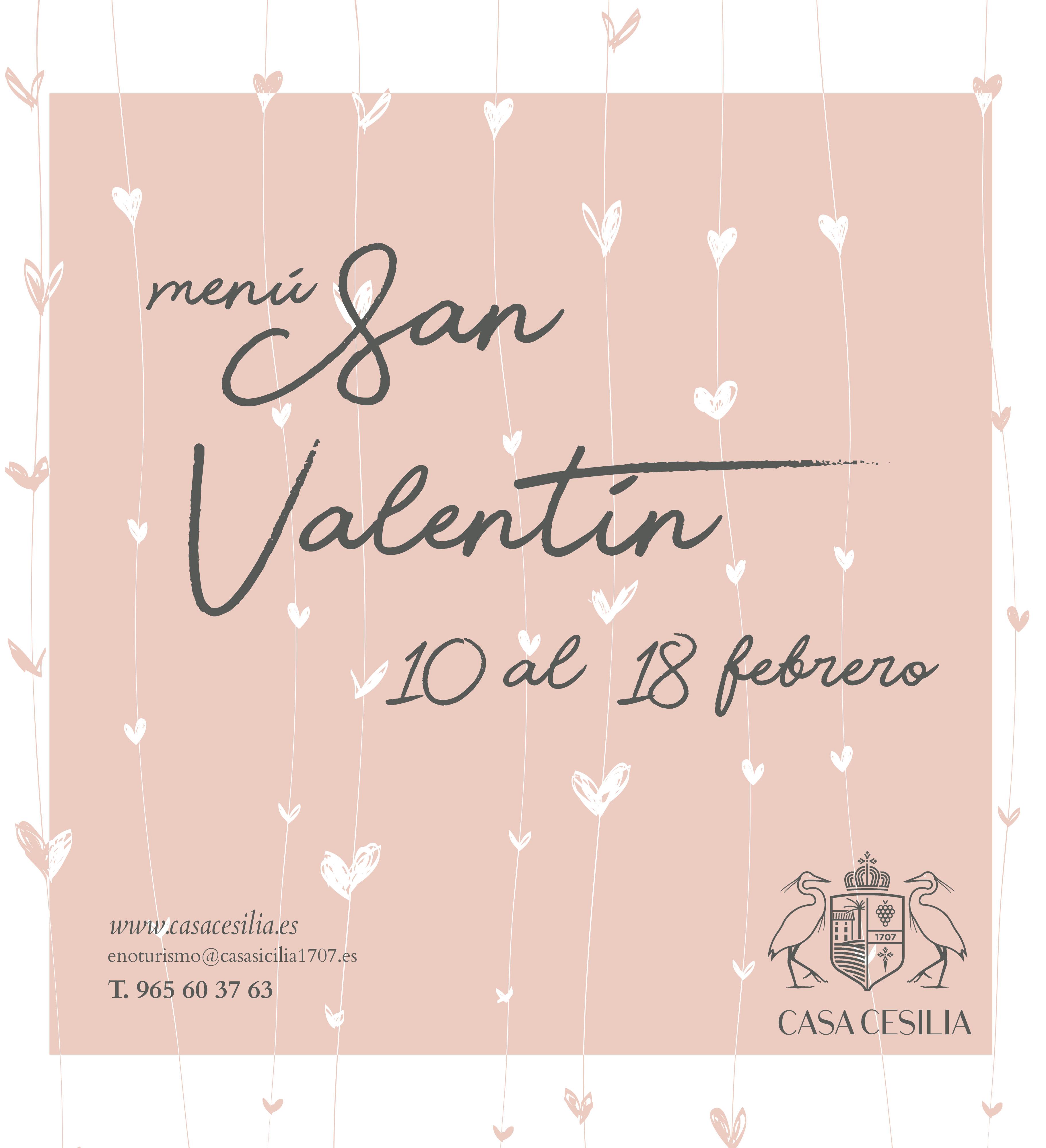 Menu especial Casa Cesilia San Valentín