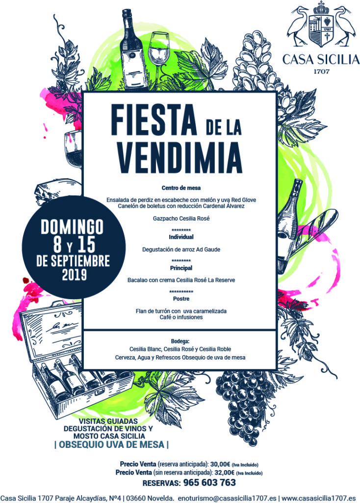 Menu fiesta de la vendimia Casa Sicilia 2019