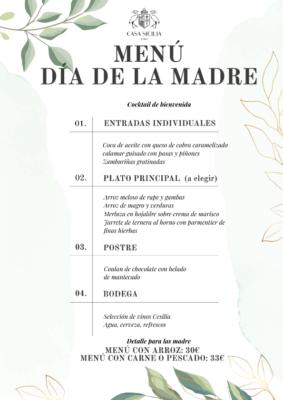 Menú Día de la Madre Casa Sicilia